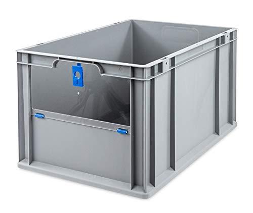 aidB Eurobox NextGen Insight Cover blau, 600x400x320 mm, Cover hoch, robuste Regalbox mit Entnahmeöffnung, stapelbare Kunststoffkiste, ideal für die Industrie, 1St