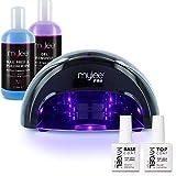 Mylee – Kit de lámpara LED convexa para secado de esmaltes en 15 segundos con esmaltes para uña en gel, base, capa superior, paño y quitaesmaltes (Negro)