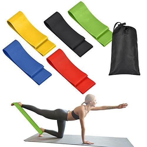 OUNDEAL Cintas Elásticas de Resistencia Set de 5, Bandas Elasticas Fitness Látex Natural con 5 Niveles de Fuerza y Bolsa de Almacenamiento para Crossfit Pilates Fitness Estiramientos