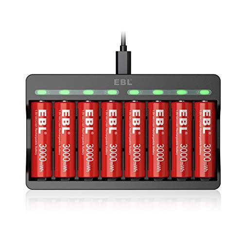 EBL Cargador con 8 x 3000mWh Pilas Recargables AA de 1,5V, Cargador de Pilas AA con Ranura de Carga Independiente & Puerto Micro USB