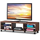 Tangkula Modern TV Stand, Media Unit Storage Media Console Cabinet Home Furniture TV Stand, Open Compartment and Display Shelves for Spacious Storage Space (Brown)