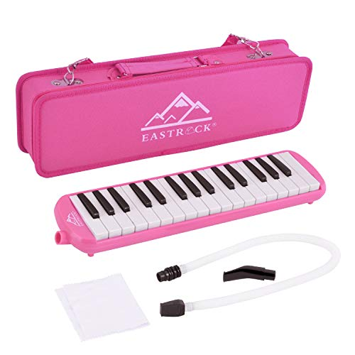 EastRock 32 Key Melodica Instrument Keyboard Soprano Piano style with Mouthpiece Tube Sets and Carrying Bag for Kids Beginners Adults Gift Pink
