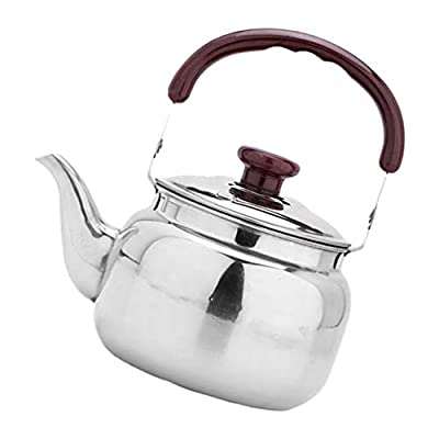 BESPORTBLE Stainless Steel Tea Kettle Stovetop Whistling Teakettle Teapot with Handle Pour Over Coffee Kettle for New Year Home Restaurant Hotel (1L)