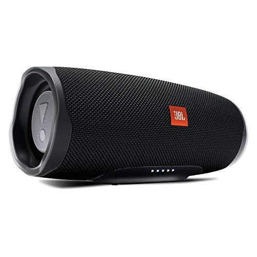 JBL Charge 4 Bluetooth-Lautsprecher in Schwarz, Wasserfeste, portable Boombox mit integrierter Powerbank, Mit nur einer Akku-Ladung bis zu 20 Stunden kabellos Musik streamen