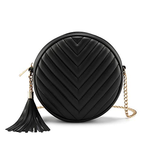 CHIC DIARY Women's Crossbody Bag Round Small Shoulder Bag with Tassel PU Leather Fashion Mobile Phone Case, black (Black) - QQDE2083