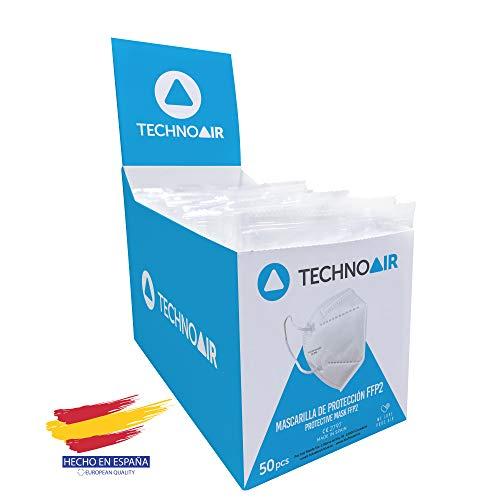 Caja 50 Mascarillas FFP2 de 5 capas en cajas de 50 uds color blanco, Homologada tipo III, fabricadas en España CE 2797 - Technoair