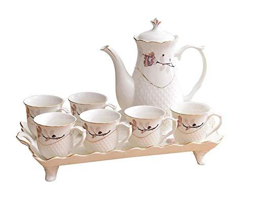 HONYGE Juego de té LXGANG Juego de té Juego de café de cerámica Europea Moderna Sala de Estar Minimalista Cerámica