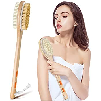 Shower Brush Bymore Dry Brushing for Body Cellulite and Lymphatic Dry Skin Long Handle Body Brush Natural Bristle Exfoliator Scrubber for Bath Shower Wash Brushing Exfoliating Legs and Back