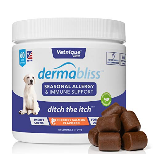 VETNIQUE LABS Dermabliss Seasonal Allergy & Immune Support for Dogs with Omega 3-6-9, Probiotics, Enzymes, Fish Oil and Colostrum Powder - Hickory Salmon Flavored Dog Treats (60 Count)