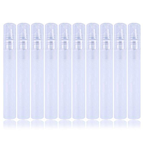 10 flaconi spray in plastica, flaconi mini di Atomizzatore vuoti per profumi, tonico ed ecc, 10ml, bianco trasparente
