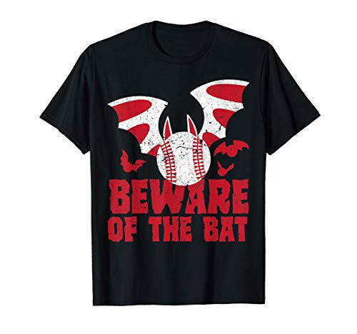 Beware Of The Bat Baseball Scary Player Halloween Costume T-Shirt