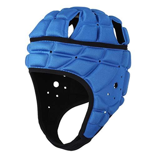 surlim Rugby Soft Helmet Soccer Headgear Scrum Cap 7v7 Flag Football Headguard for Adult Large (Blue)