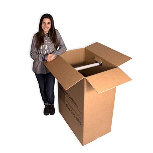 Pack 5 Cajas de Cartón (Caja Armario) 750x450x1000mm. Incluye soporte para perchas de plástico. Con impresión Cajadecarton.es