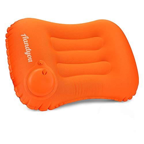 エアーピロー キャンプ まくら 手動プレス式 キャンプ枕 空気枕 旅行用枕 軽量 携帯枕 事務室 車中泊 アウトドア用 収納袋付き 1年間保証