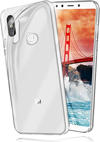 moex Aero Case kompatibel mit Xiaomi Mi A2 - Hülle aus Silikon, komplett transparent, Klarsicht Handy Schutzhülle Ultra dünn, Handyhülle durchsichtig einfarbig, Klar