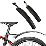 RoxNvm Guardabarros de Bicicleta, Guardabarros de Bicicleta Delantera y Trasera, Guardabarros retráctiles con luz Trasera LED, Guardabarros Ajustable para Ciclismo, Bicicleta Carretera, MTB (Negro)