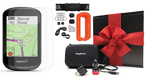 Garmin Edge 830 Bike Computer Gift Box Bundle | +PlayBetter Silicone Case, Screen Protectors, Car/Wall Adapters & Hard Case | Touchscreen, Mapping | Cycling GPS (Orange, Sensor Bundle)
