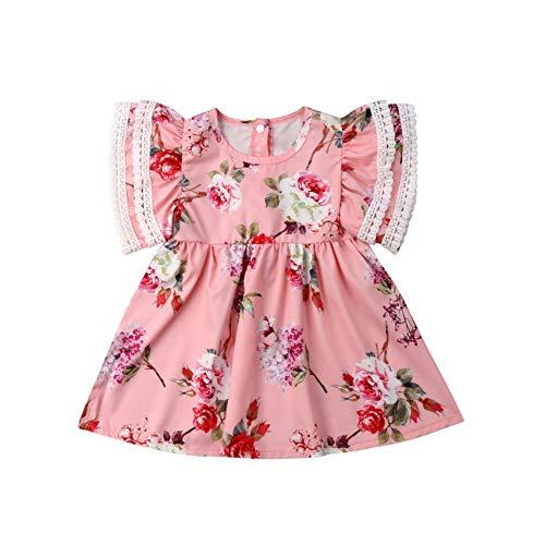 BOBORA Ensemble Bébé Filles Été, T-Shirt à Manches Courtes avec Salopette à Fleurs, Robe de Princesse à Fleurs avec Pampilles pour 0-4Ans Sœurs
