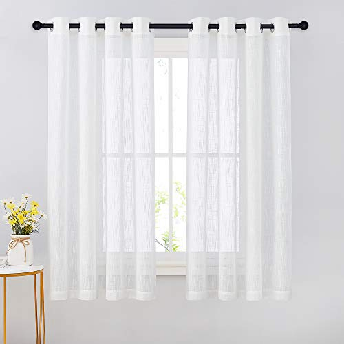 NICETOWN Sheer Linen Kitchen Curtains - 63 Inches Long Bedroom Privacy Translucent Voile, Grommet Sheer Window Drapes for Kids Room (63 Inch Long, White, Set of 2)