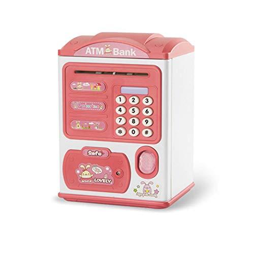 EPMEA0 1pc Electronic Piggy Bank Dacting Huella Digital Caja Fuerte de Ahorro Grande para Monedas Cash para niños 14 * 12 * 21 cm (Color : Pink)