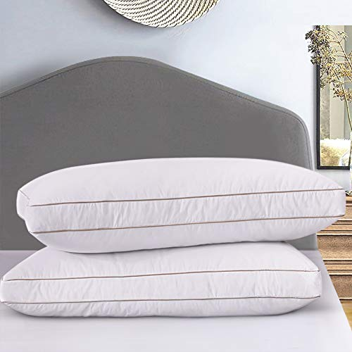 Ubauba Goose Down Feather Pillow Insert for Sleeping 2 Pack, 100% Cotton Down Pillows Hotel Collection Bedding Pillows for All Season Set of 2-...