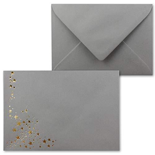 50x Weihnachts-Briefumschläge - DIN C6 - mit Gold-Metallic geprägtem Sternenregen -Farbe: Graphit (Grau) - Nassklebung, 120 g/m² - 114 x 162 mm - Marke: Gustav NEUSER®