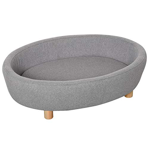PawHut Pet Sofa Couch for Medium-Sized Dog Cushioned Bed Wooden legs, Light Grey 81cm x 61cm x 24cm Grey
