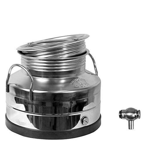 Fischer Kellereitechnik Edelstahl-Kanne: Transport-Kanne für flüssige Lebensmittel Getränkefass aus Edelstahl - lebensmittelecht 10 Liter/ohne Auslaufhahn