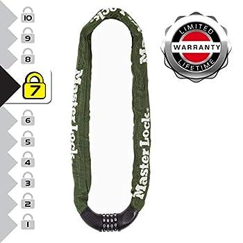 Chaîne antivol en acier cémenté avec serrure à code intégrée, chaîne pour extérieur (portail, barrière, remise) longueur 1m