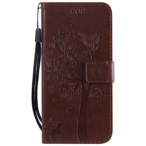 Wmchiwan Phone Protector Flip Wallet Cover Magnetic Clasp Cat and Tree Embossed with Detachable Wrist Strap Compatible with Huawei P30 Lite/Nova 4e