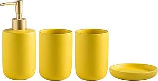 Ensemble d'accessoires de salle de bain mats en céramique avec bouteilles liquides, distributeur de savon, gobelets, port...