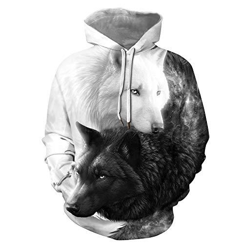 Fansu Sudaderas con Capucha 3D Estampado de Animales Modernos Hombre Mujer Hoodies con Bolsillos, Pareja Invierno Manga Larga Pullover Deportes Sweatshirt (Blanco Negro Lobo,L)