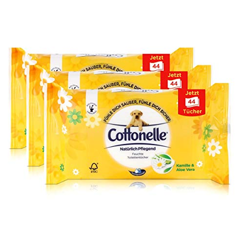 3x Hakle Cottonelle feuchte Toilettentücher Kamille & Aloe Vera 44 Tücher, Nachfüller