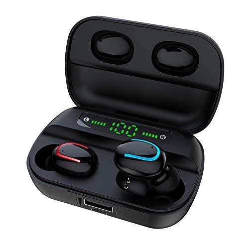 GOSCIEN Bluetooth Kopfhörer Kabellos in ear mit Mikrofon [Tragbare Ladecase] 2021 Modell, IPX5 Wasserdicht, Bluetooth 5.0, CVC 8.0 Geräuschisolierung, für sport, für Alle Smartphone, Schwarz