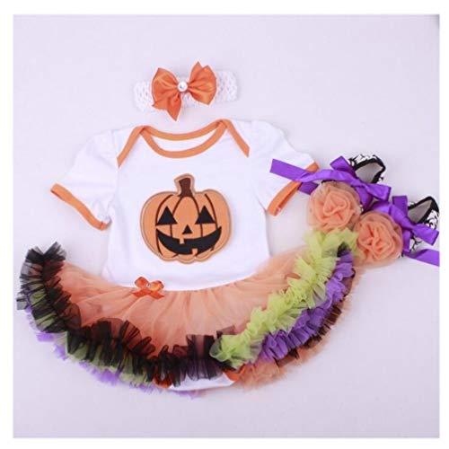 Een set van 20-22 inch Kinderen pop Jurk Tutu Jumpsuit Pompoen Patroon Pak Kleding Halloween