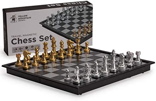 Yellow Mountain Imports Travel Magnetic Chess Set (9.7 Inches) - Folding, Portable, and Educational Board Game