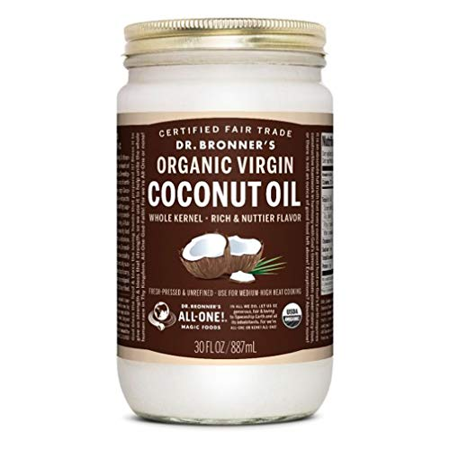 Dr. Bronners - Organic Virgin Coconut Oil (Whole Kernel, 30 Ounce) - Coconut Oil for Cooking, Baking, Hair and Body, Unrefined and Fresh-Pressed, Rich and Nutty Flavor, Fair Trade, Vegan, Non-GMO
