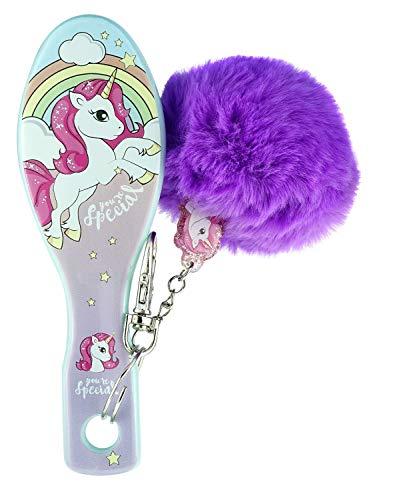 HOVUK Cepillo de pelo con pompón hecho de plástico con estampado de personajes de TV para niños y niñas