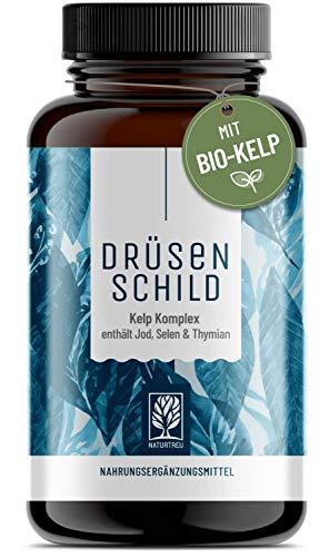 Jod Selen Komplex Kapseln - 150µg natürliches Jod aus Bio-Braunalgen (Bio Kelp Extrakt) mit Selen und Thymian - Hochdosiert, vegan und hergestellt in Deutschland - 180 Schilddrüse Kapseln