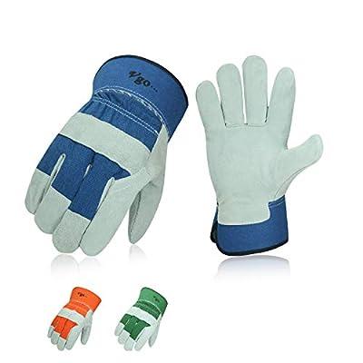 Vgo 3-Pairs Cow Split Leather Men's Work Gloves with Safety Cuff (Size M, Blue&Orange&Green, CB3501)