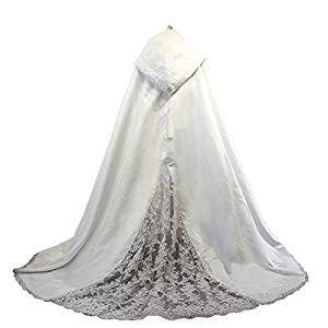 Women's Long Wedding Cape Hooded Cloak for Bride Lace Edge