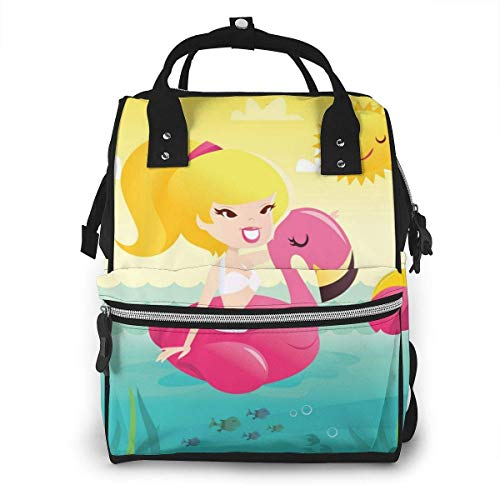 UUwant Sac à Dos à Couches pour Maman Large Capacity Diaper Backpack Travel Manager Baby Care Replacement Bag Nappy Bags Mummy Backpack?Cartoon Retro Happy Bikini Girl on Flamingo Pool ?