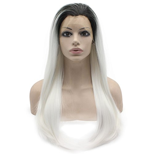 Mxangel Long Straight Black White Ombre Lace Front Halloween Party Wig