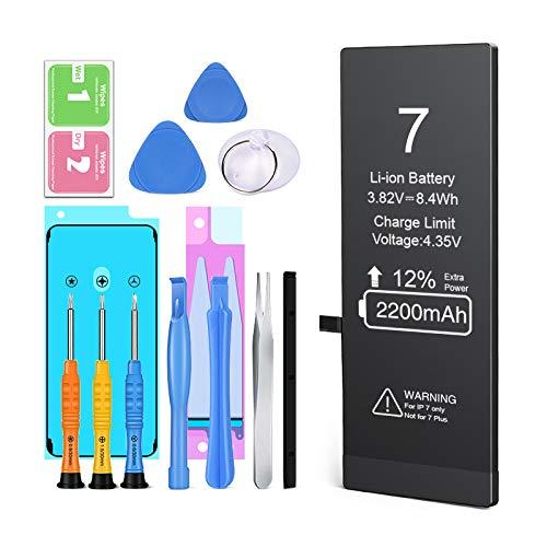 Ponoser Batería para iPhone 7 con 12% más de Capacidad Que la batería y con Kits de Herramientas de reparación (2 años de garantía)