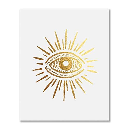 DIGIBUDDHA Vintage Third Eye Gold Foil Print Yoga Meditation Poster Chakra Decor Metallic Art 8 inches x 10 inches A29