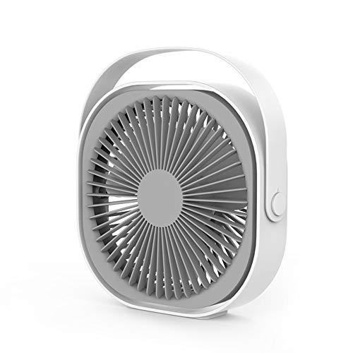 KKmoon Tafelventilator, instelbare hoek, USB-oplaadbare handige miniventilator, stil voor thuis en op kantoor, 5,5 Wh, 6 inch, 4 snelheidsniveaus, wit