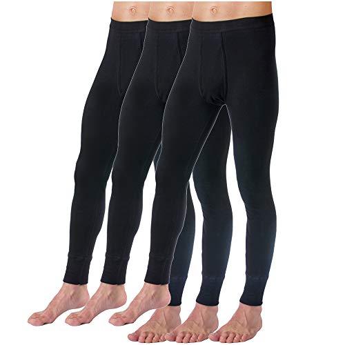HERMKO 3540 Herren Lange Unterhosen mit Eingriff 3er Pack (Weitere Farben) Bio-Baumwolle, Größe:D 7 = EU XL, Farbe:schwarz