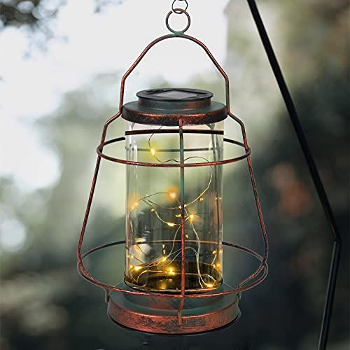 Greenidea - Farolillos solares colgantes vintage para exteriores con 20 luces LED, resistente al agua, con mango para patio, césped,...