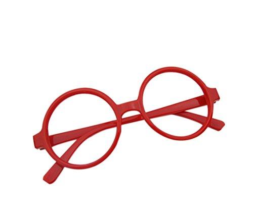 Westeng Kinderbrille Einfach Retro Großer Runder Jungen und Mädchen Kinderbrillenrahmen Spiegel Rahmen Kinderbrillengestell - Rot