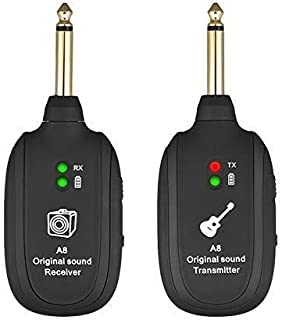 UHF Wireless Guitar System,Acogedor Guitar Transmitter Receiver,Wireless Audio Transmission Set for Electric Guitar Bass Violin